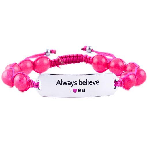Always Believe - Ruby Pink Jade Bracelet