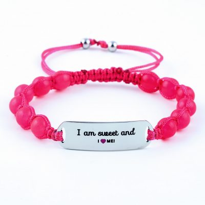 I Am Sweet And I Love Me - Ruby Pink Jade Bracelet