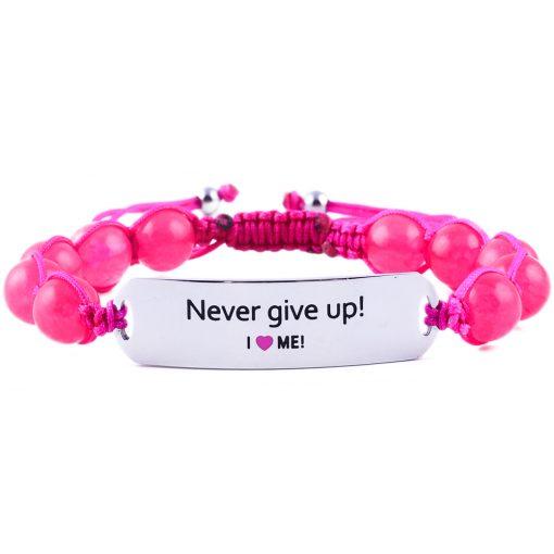 Never Give Up! - Ruby Pink Jade Bracelet