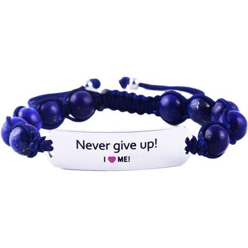 Never Give Up! - Marine Blue Lazurite Bracelet