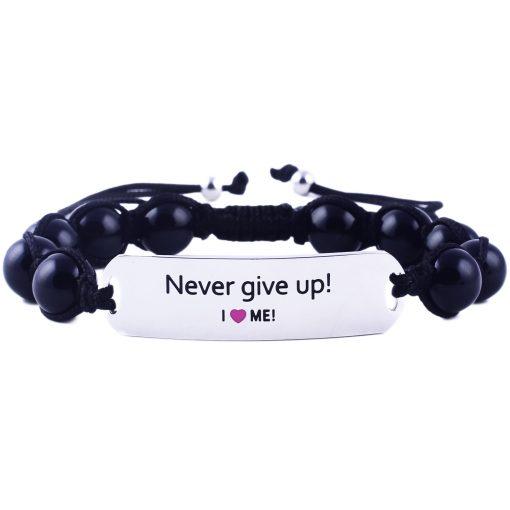 Never Give Up! - Black Onyx Bracelet