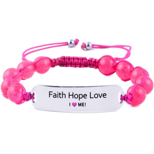 Faith Hope Love - Ruby Pink Jade Bracelet