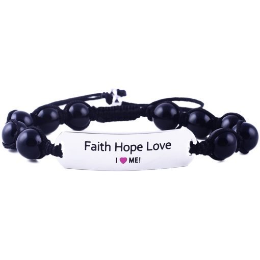 Faith Hope Love - Black Onyx Bracelet